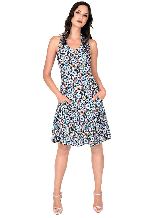 Kleid mit Neckholder bunt