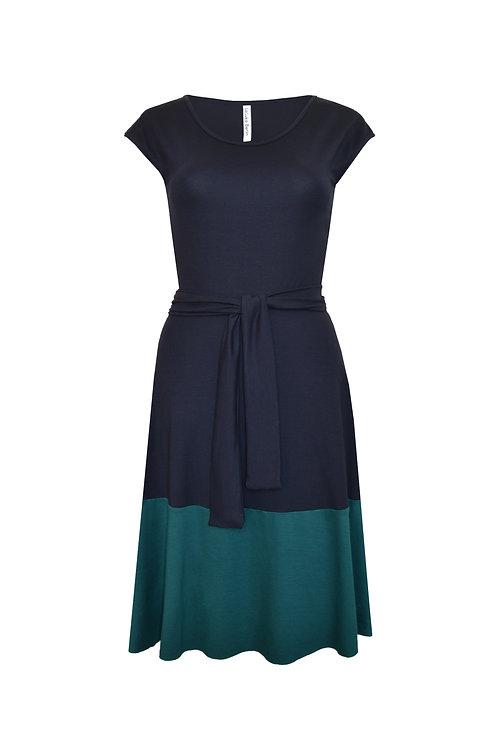 Jerseykleid Lola dunkelblau/petrol