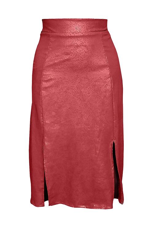 Cleather Midi Skirt Terra