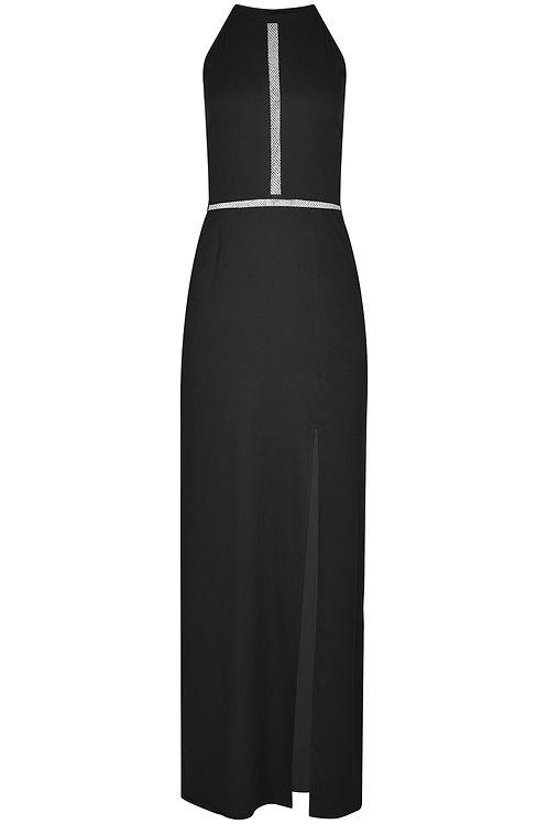 Abendkleid lang schwarz mit Netz-Details