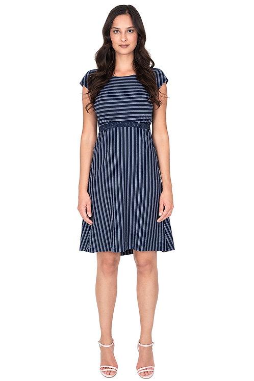 Jerseykleid Kurzarm mit Streifen blau