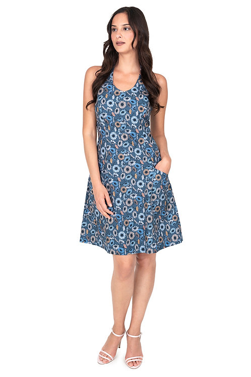 Kleid mit Neckholder blau