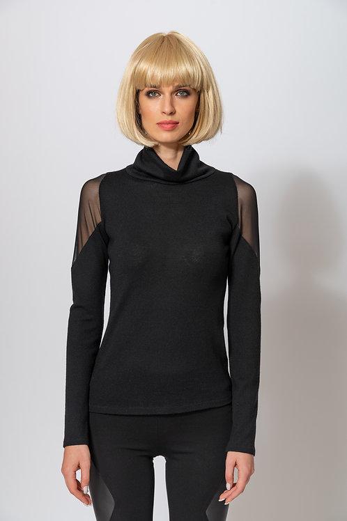 Merino-Pullover Schwarze Transparenz