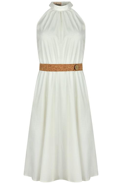 Kleid mit Stehkragen und Korkgürtel weiß
