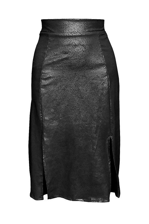 Cleather Midi Skirt Black