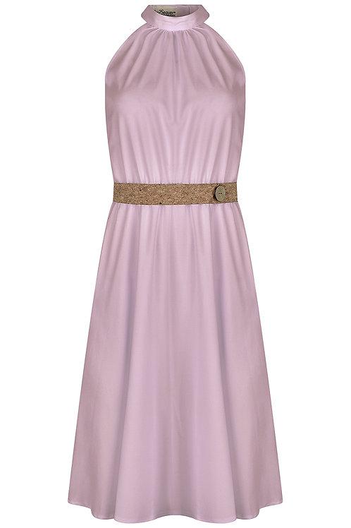 Kleid mit Stehkragen und Korkgürtel rosa