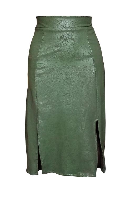 Cleather Midi Skirt Olive