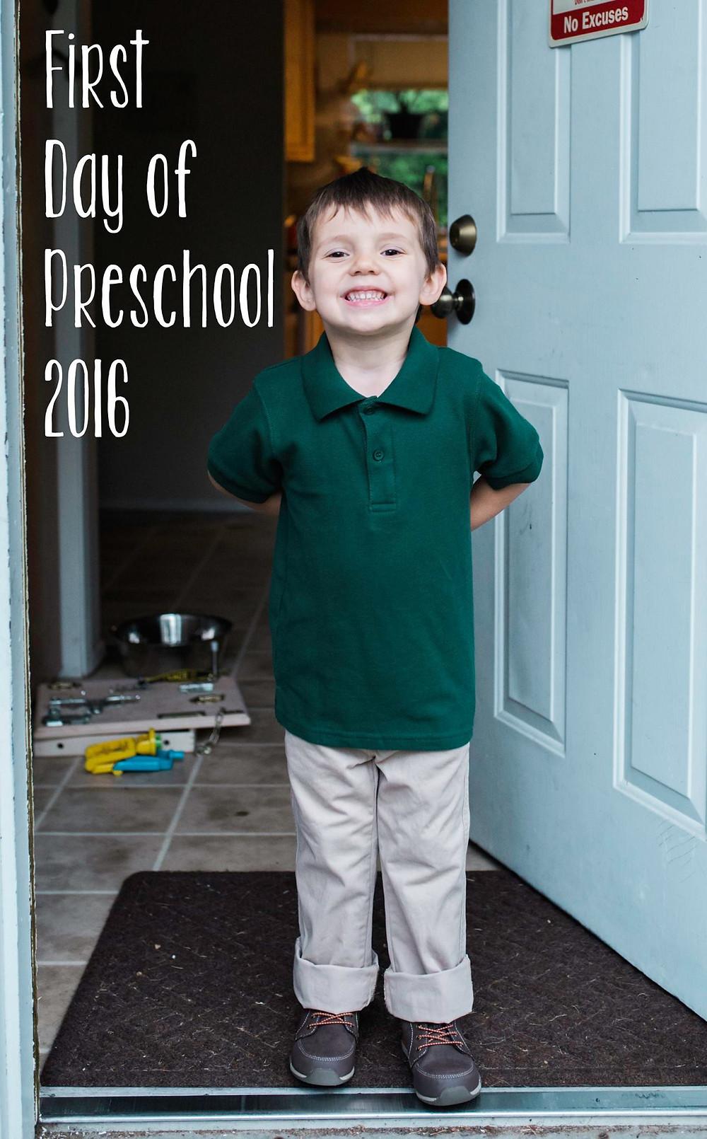 Boy first day of school