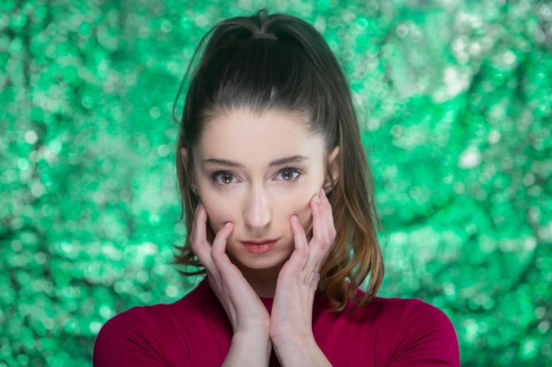 Gorgeous Female Girl Model Creative Colorful Headshot