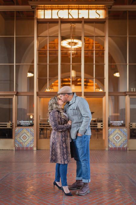 Romantic Union Station Kiss