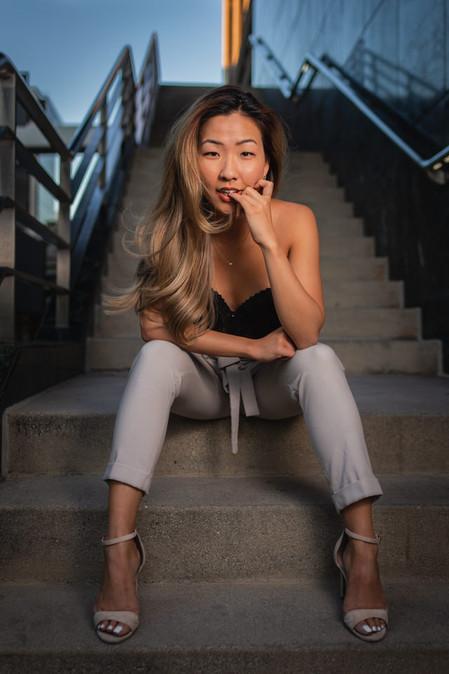 Beautiful Female Korean Model Powerful Pose