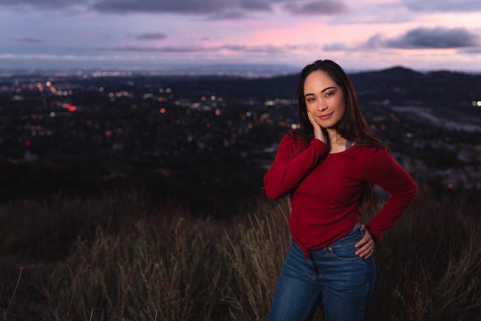 Flash Photography Hilltop Photoshoot Female Model