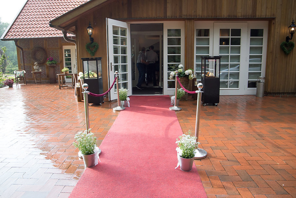 Outside of the wedding venue where guest were welcome for the cocktails hour