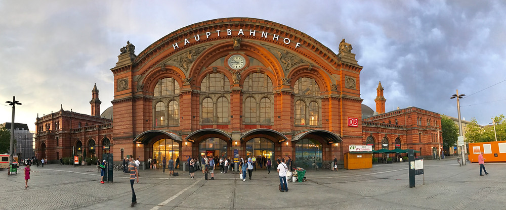 I took a panoramic photo of this gorgeous train station in Bremen from the outside after our arrvial. We had just met Sarina Dad and were waiting for her brother. It was sunset time and the sky was beautiful. I just couldn't resist.