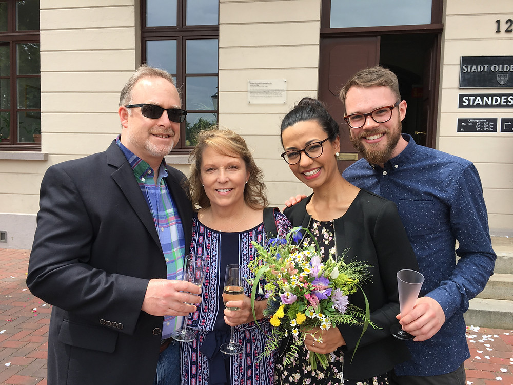 Pat, me, Sarina and Malte with our glasses to toast to the newly married couple.
