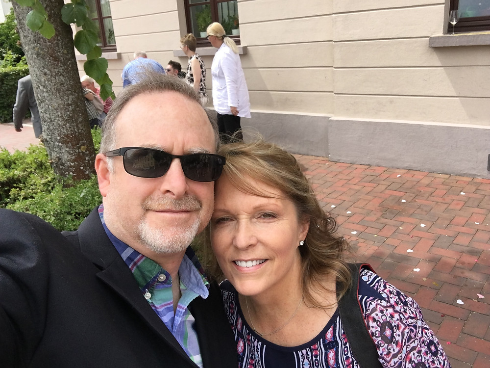 Pat catching a quick selfie of the two of us outside of the Oldenburg Germany Registrars office during our post Civil Ceremony celebration