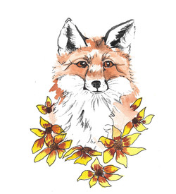 Fox with Her Sunflowers