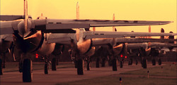 17 B-25s lineup for takeoff