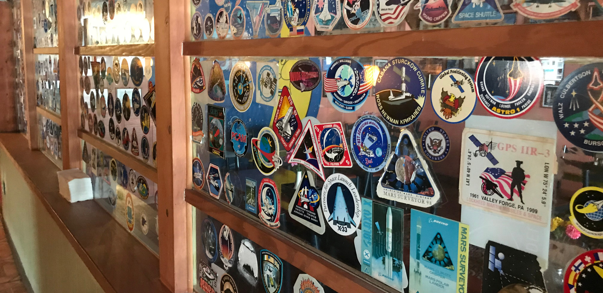NASA stickers left at The Moon Hut