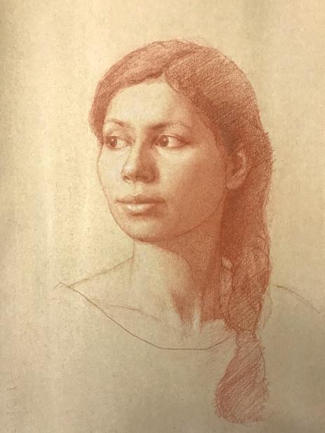 Portrait of Shweta 29 x 36 Red & White Chalk on Toned Paper .jpg