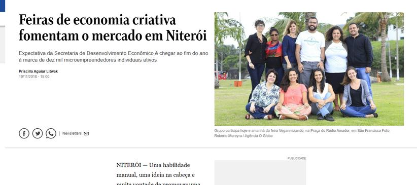 O Globo - Feiras de Economia Criativa fomentam o mercado em Niterói