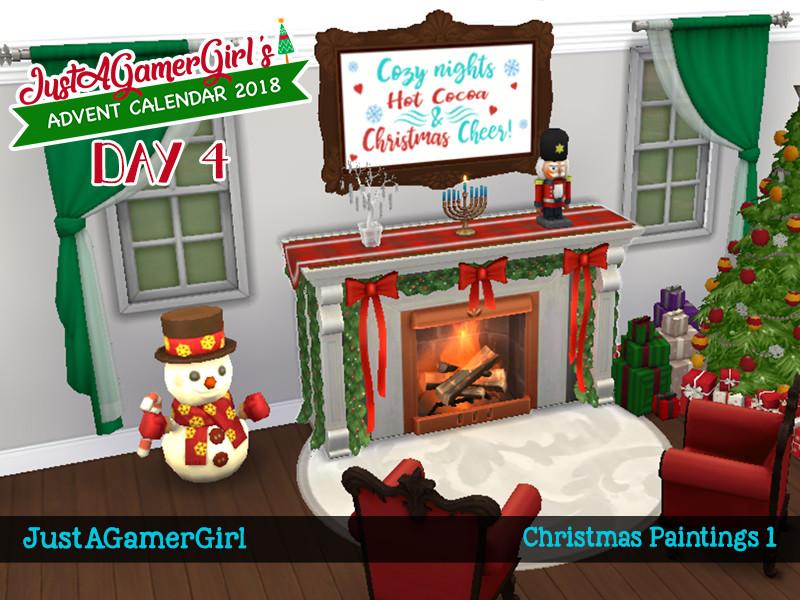 Christmas Horizontal Paintings Sims 4 Cc
