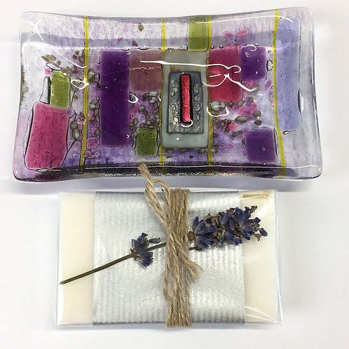 Soap Dishes - Purple Abstract