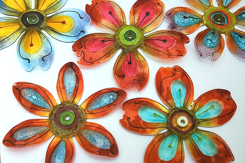 Fused Glass Wall Flowers