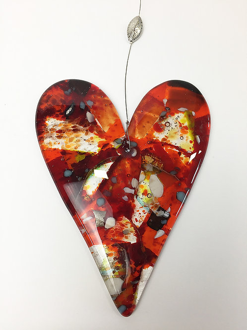 Hanging Glass Hearts - Abstract Red