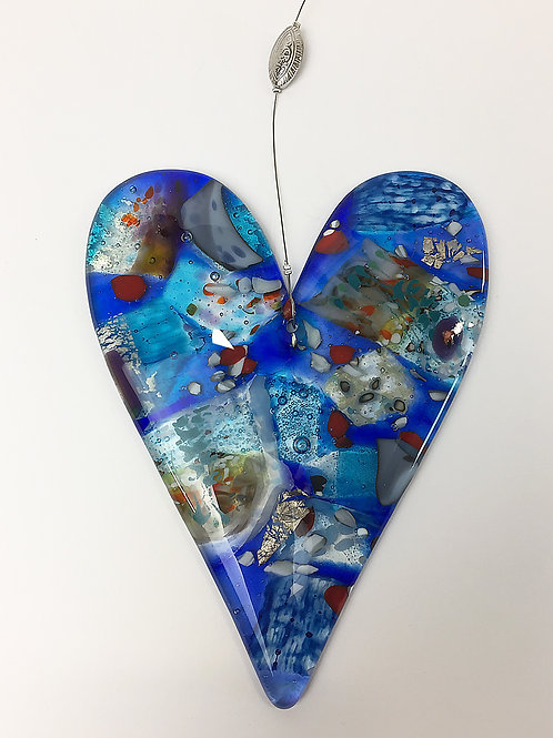 Hanging Glass Hearts - Abstract Blue