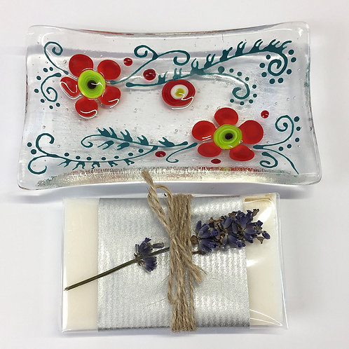 Soap Dishes - Red Flower