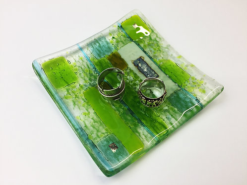 Jewellery Dish - Abstract Green