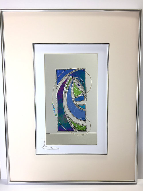 Stained Glass Pictures 43 x 56cm - Blue