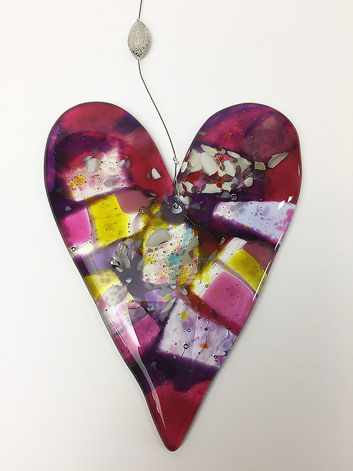 Hanging Glass Hearts - Abstract Pink/Purple