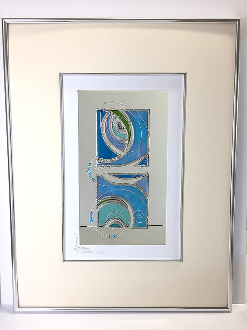 Stained Glass Pictures 43 x 56cm - Aqua