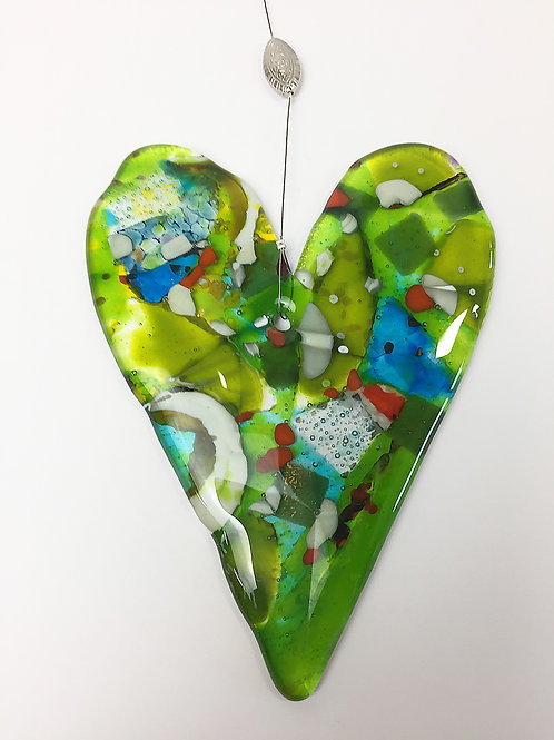 Hanging Glass Hearts - Abstract Green