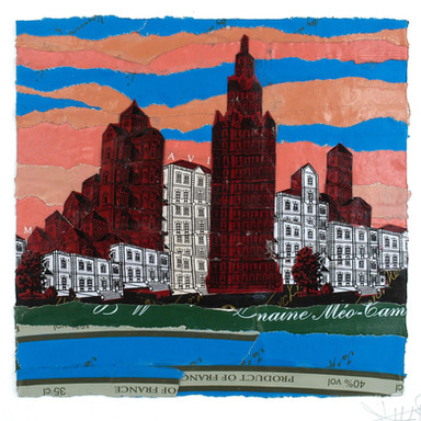 New-york collage plomb/étain 12,5 x 13 cm