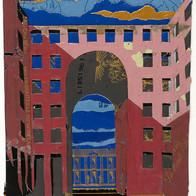 Rome collage plomb/étain 14 x 10 cm