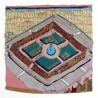 place du palais royal collage plomb/étain 16,5 x 16 cm