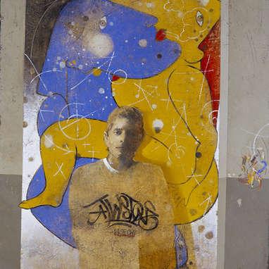 le joint / huile sur toile 100 x 81 cm