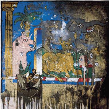 la larme / huile sur toile 80 x 80 cm