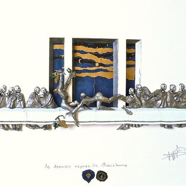 sculpture plomb/étain 65 x 55 x 8 cm