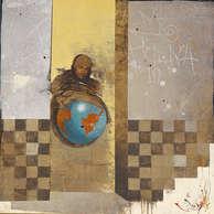 le monde allant vers / huile sur toile 80 x 80 cm