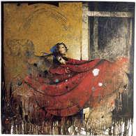 pièce rouge / huile sur toile 100 x 100 cm