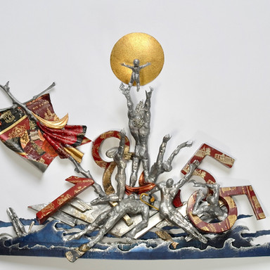 sculpture plomb/étain 95 x 73 x 9 cm