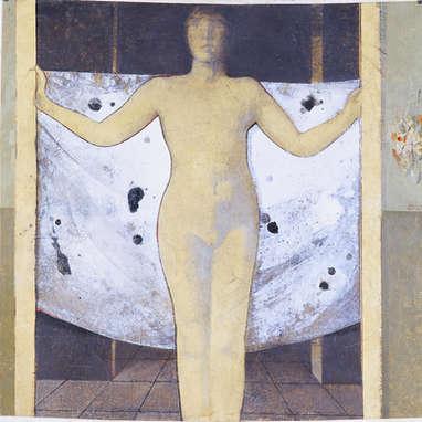 L'étendoir / huile sur toile 100 x 100 cm