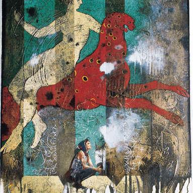coccinelle / huile sur toile 61 x 50 cm
