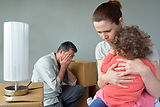 Sad evicted family worried relocating ho