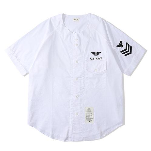 Navy Baseball Shirt - White