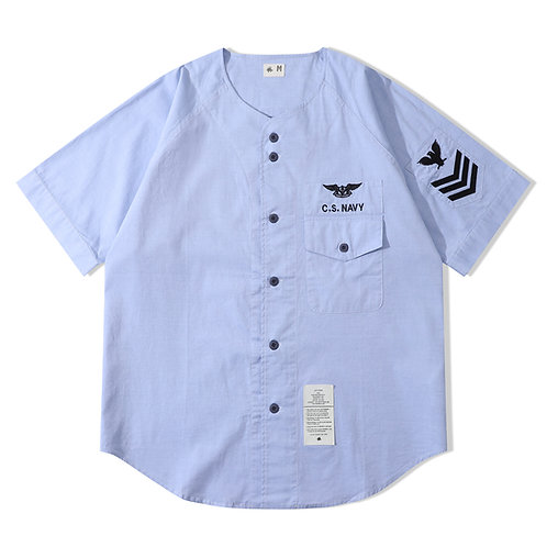 Navy Baseball Shirt - Blue